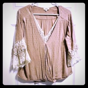 Lace/taupe twist front blouse